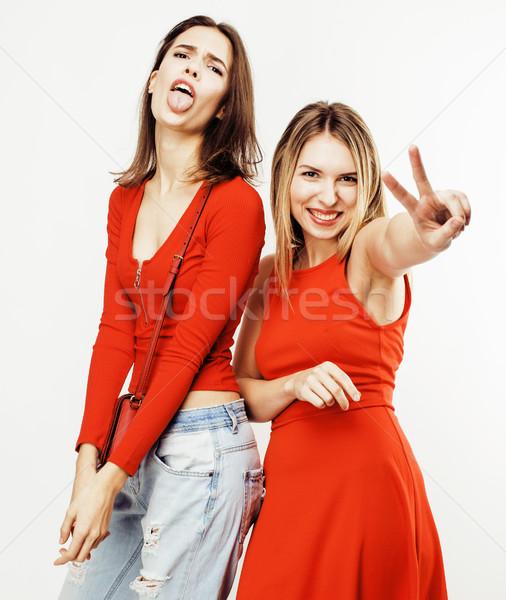 Tienermeisjes samen poseren Stockfoto © iordani