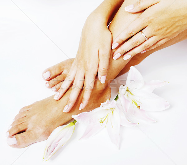 Foto d'archivio: Manicure · pedicure · fiore · giglio · isolato