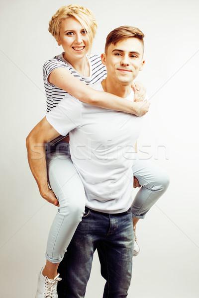 Fiatal csinos tini pár hipszter fickó Stock fotó © iordani