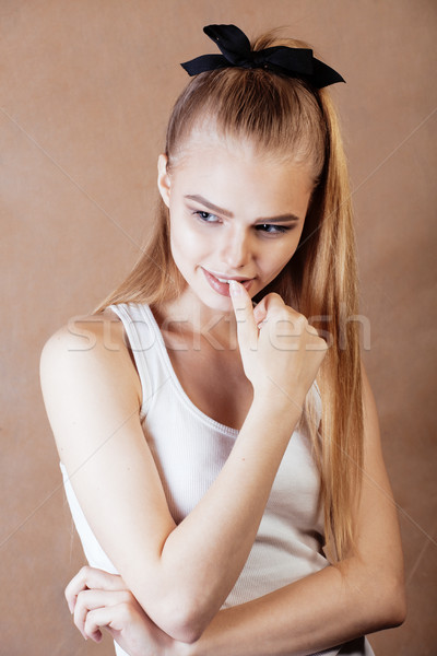 young pretty happy smiling blonde woman close up warm colors, lifestyle people concept Stock photo © iordani