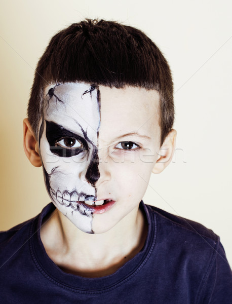 Stock photo: little cute boy with facepaint like skeleton to celebrate hallow