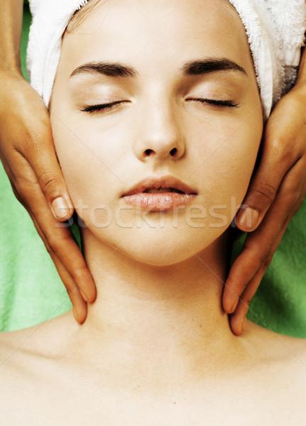 stock photo attractive lady getting spa treatment in salon Stock photo © iordani