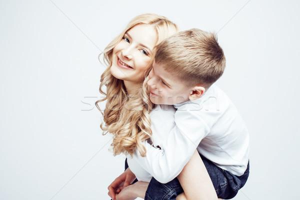 Jonge moderne blond gekruld moeder cute Stockfoto © iordani