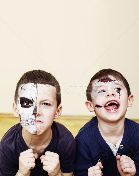 Zombi vahiy çocuklar doğum günü partisi kutlama çocuklar Stok fotoğraf © iordani