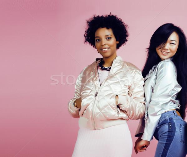 Verschillend natie meisjes huid haren afro-amerikaanse Stockfoto © iordani