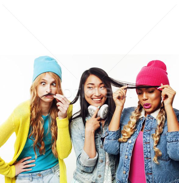 diverse nation girls group, teenage friends company cheerful hav Stock photo © iordani