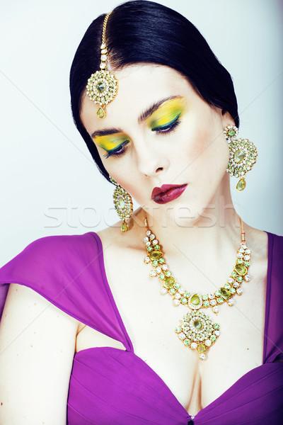 молодые довольно кавказский женщину подобно индийской Сток-фото © iordani