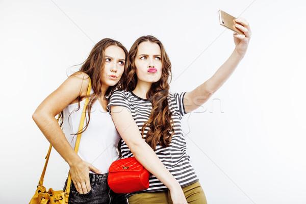 Kettő legjobb barátok tinilányok együtt szórakozás pózol Stock fotó © iordani