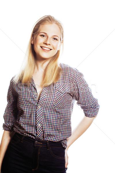 Giovani bella capelli biondi donna felice sorridere Foto d'archivio © iordani