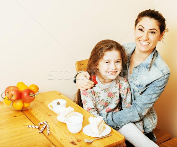Stok fotoğraf: Genç · anne · kız · mutfak · içme · çay