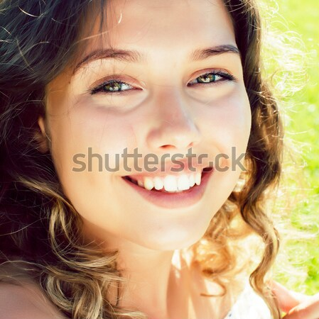 young pretty blonde woman with hairstyle close up and makeup on  Stock photo © iordani