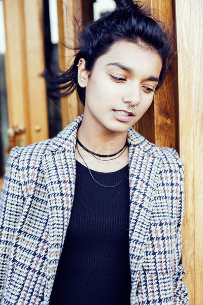 young pretty student teenage indian girl in doors happy smiling, having fun, lifestyle people concep Stock photo © iordani
