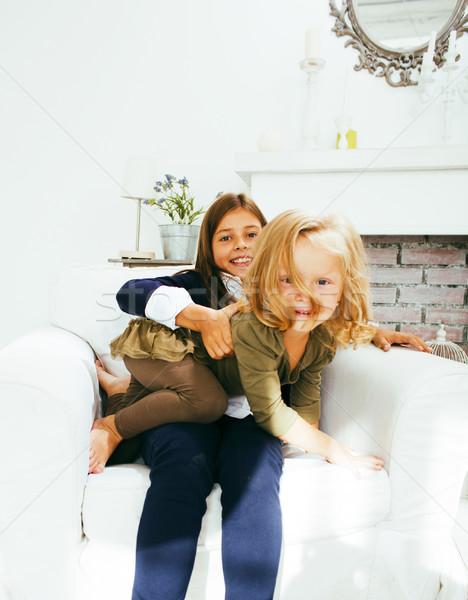 два Cute домой играет девочку Сток-фото © iordani