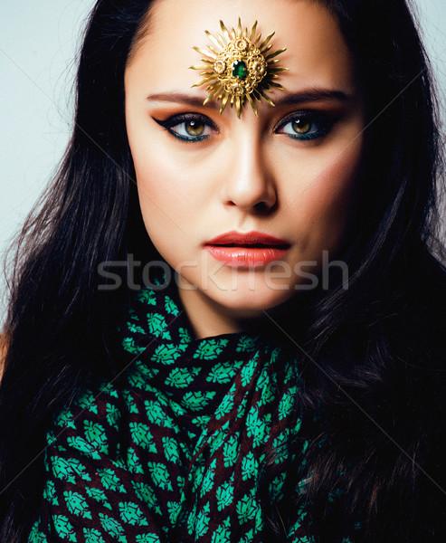 Schoonheid Oost echt moslim vrouw sieraden Stockfoto © iordani