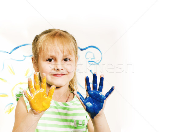 little cute blond girl painting isolated on white background Stock photo © iordani