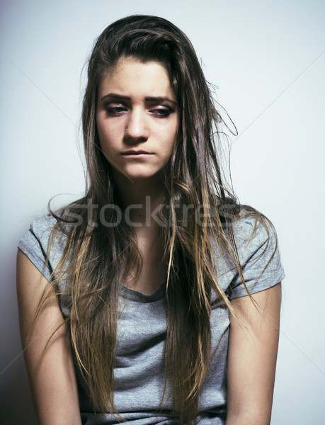problem depressioned teenage with messed hair and sad face, real junky bad looking girl close up Stock photo © iordani