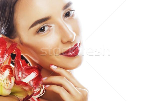 Fiatal csinos barna hajú nő piros virág Stock fotó © iordani