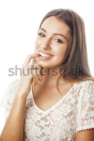 Stock fotó: Fiatal · csinos · szőke · haj · nő · boldog · mosolyog