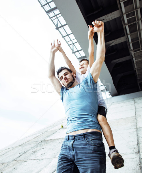 mature father with his son under the bridge having fun together happy family, lifestyle people conce Stock photo © iordani