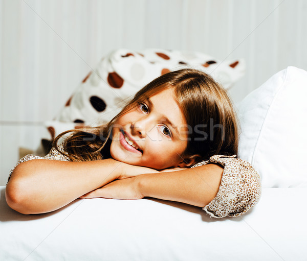 little cute brunette girl at home interior happy smiling closeup, lifestyle real people concept Stock photo © iordani