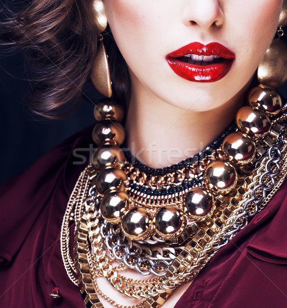 beauty rich brunette woman with a lot of jewellery Stock photo © iordani