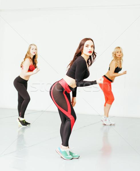 Nők sport tornaterem ugrik egészségügy életstílus Stock fotó © iordani