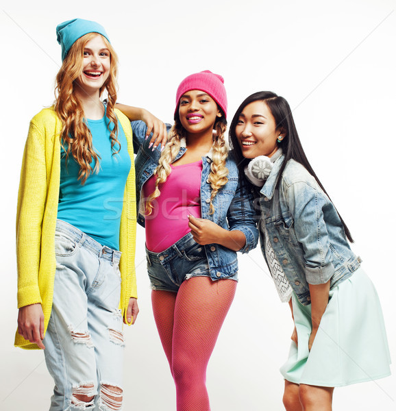 happy smiling diverse nation girls group, teenage friends company cheerful having fun cute posing is Stock photo © iordani