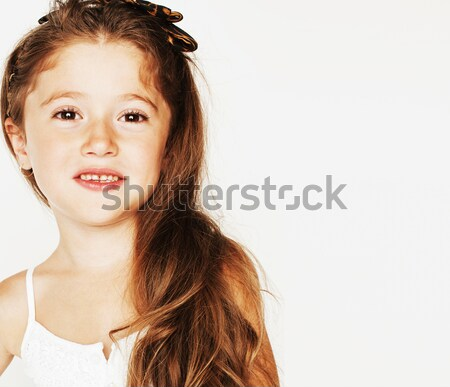 little cute beauty girl isolated on white background holding flo Stock photo © iordani