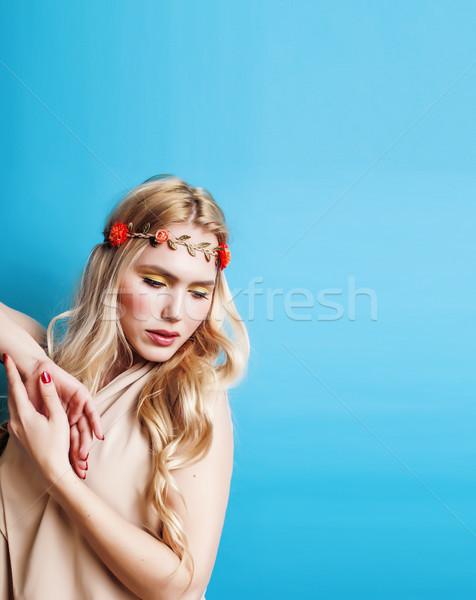 Genç güzel sarışın kız saç Stok fotoğraf © iordani