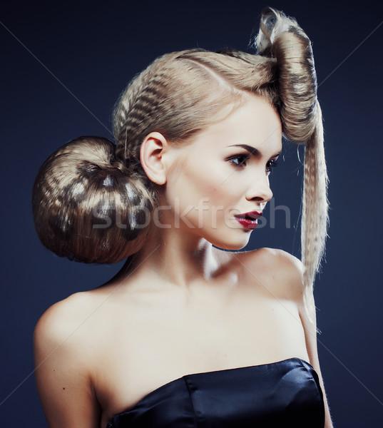 Fiatal elegáns nő kreatív hajstílus leopárd Stock fotó © iordani