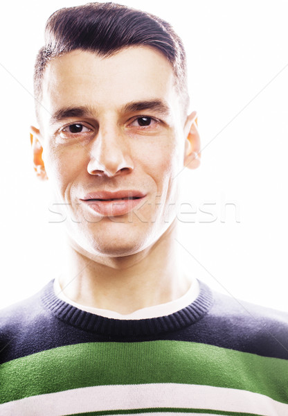 Portrait puce sérieux jeune homme permanent blanche Photo stock © iordani