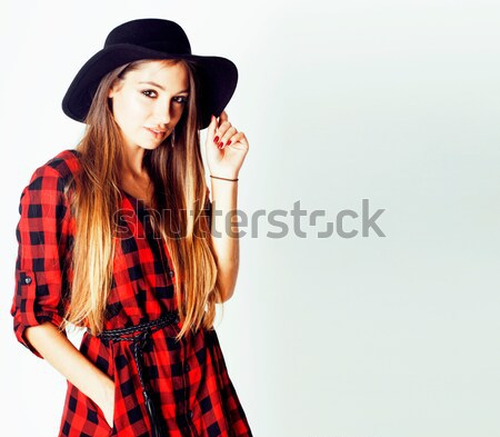 young pretty brunette girl hipster in hat on white background casual close up dreaming smiling Stock photo © iordani