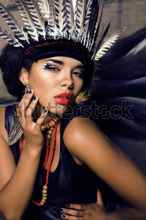 beauty bright african woman with creative make up, shawl on head like cubian closeup Stock photo © iordani