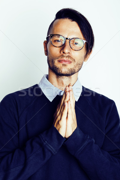 Stock photo: handsome middle age hipster man with modern hairstyle and tattoo, beard, close up on white backgroun
