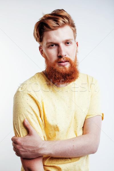 Jovem bonito gengibre barbudo cara Foto stock © iordani