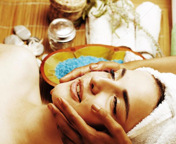 stock photo attractive lady getting spa treatment in salon, clos Stock photo © iordani