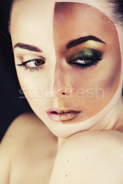 Fél nő napozás közelkép izolált fehér Stock fotó © iordani