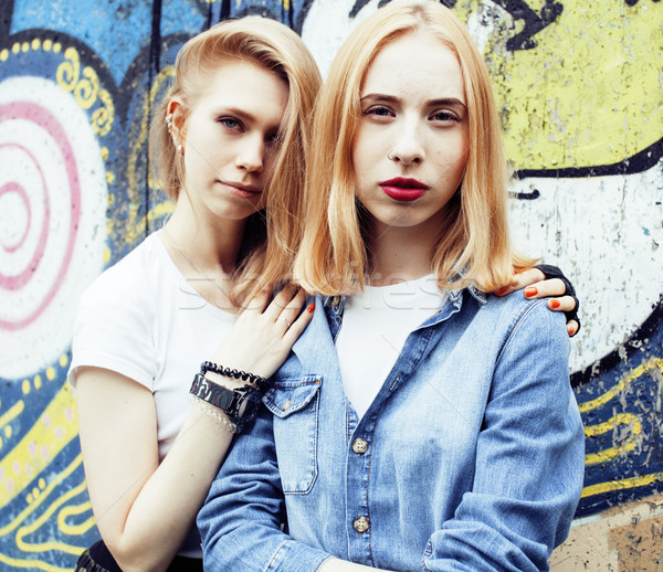 two blonde real teenage girl hanging out at summer together best Stock photo © iordani