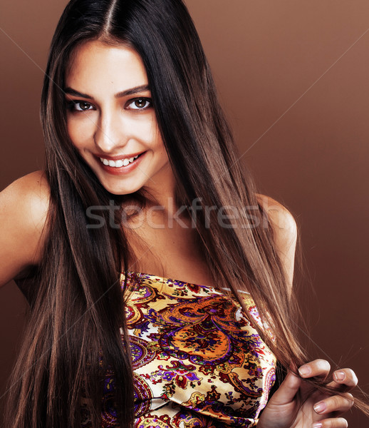 cute happy young indian real woman in studio close up smiling, f Stock photo © iordani