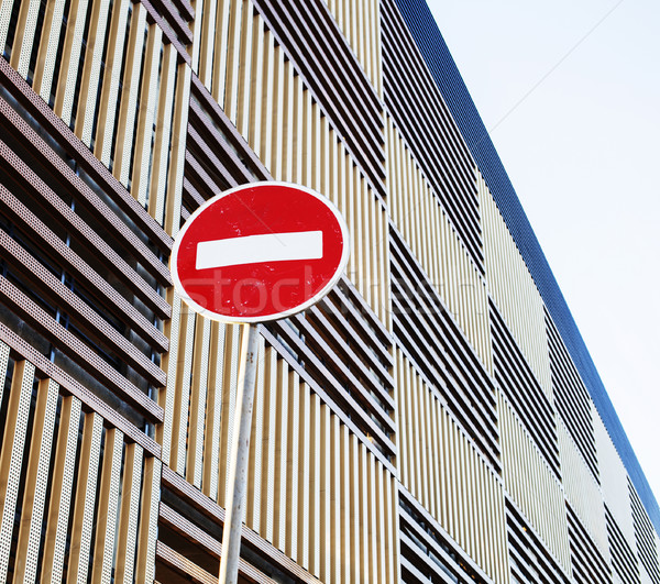 stop sign near new parking building, empty street nobody concept Stock photo © iordani