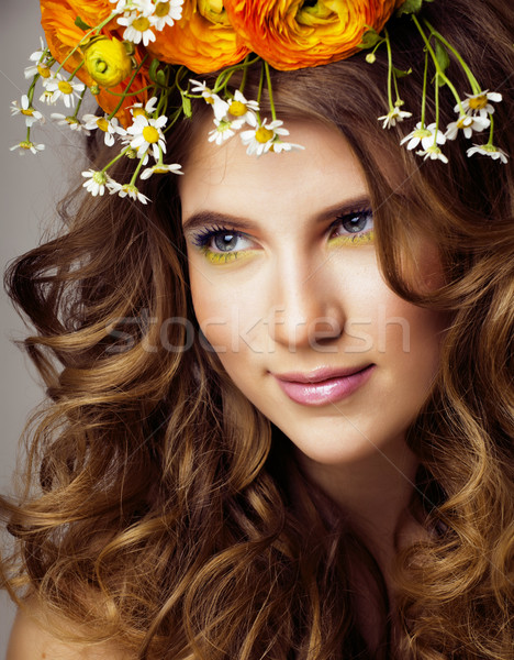 Beauty young woman with flowers and make up close up, real spring beauty Stock photo © iordani