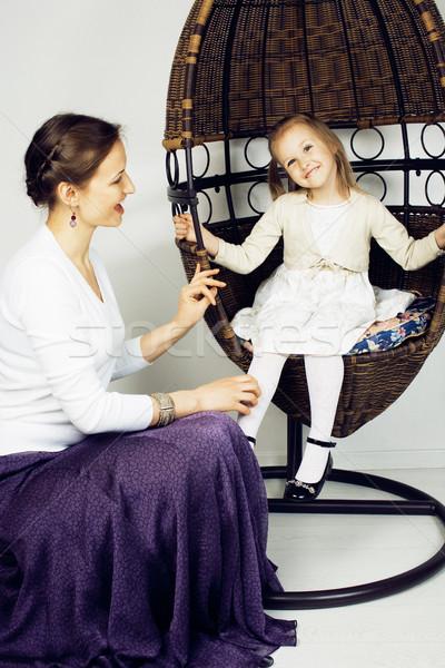 Jonge moeder dochter luxe home interieur Stockfoto © iordani