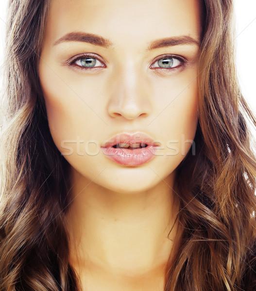 Jonge zoete brunette vrouw geïsoleerd Stockfoto © iordani