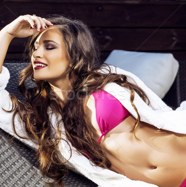 beauty young woman after spa in bikini and robe at hotel resort Stock photo © iordani