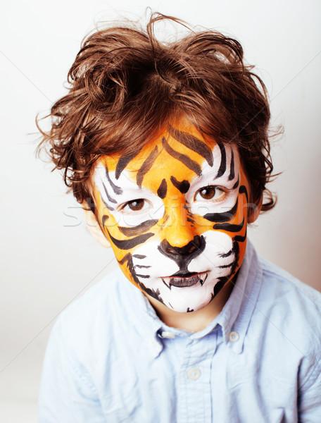 Kicsi aranyos fiú születésnapi buli közelkép narancs Stock fotó © iordani