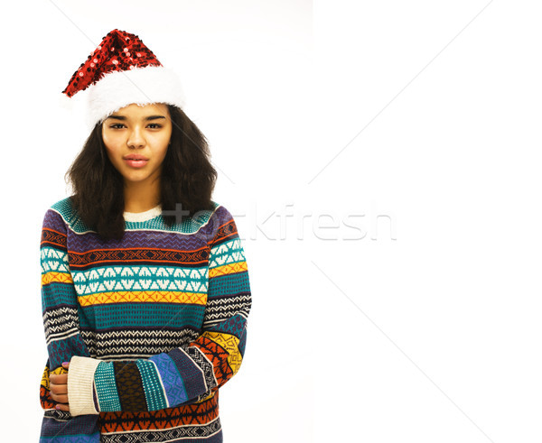 Cute junge Mädchen rot hat isoliert warten Stock foto © iordani