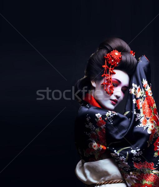 Giovani bella geisha kimono sakura decorazione Foto d'archivio © iordani