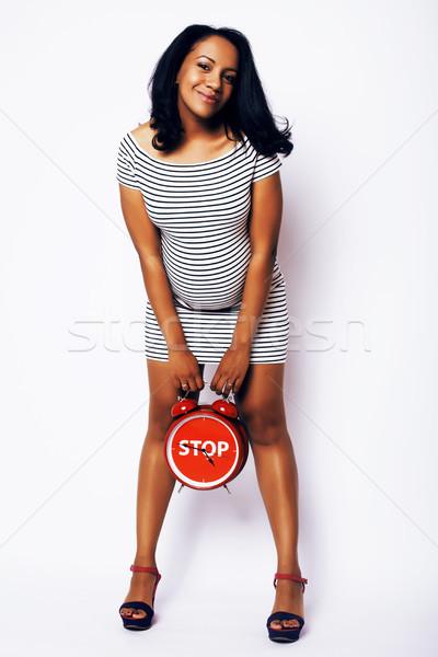 ストックフォト: かなり · 小さな · 妊婦 · ポーズ · 孤立した · 白