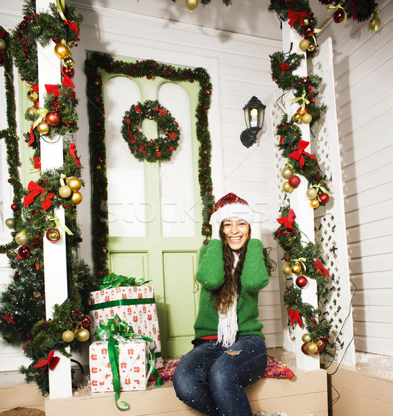 cute young woman at decorated house with presents Stock photo © iordani