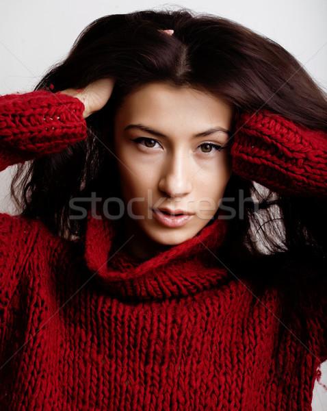 年輕 漂亮的女人 毛線衣 圍巾 面對 商業照片 © iordani